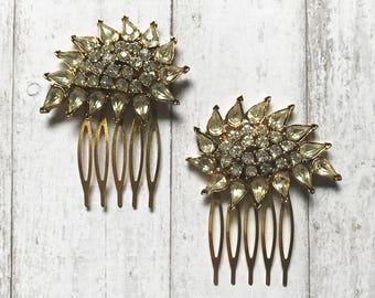 Gold Hair Comb/ Vintage Hair Comb/ Bridal Hair Comb/ Rhinestone Hair Comb/ Diamond Hair Comb/ Bridal Hair Comb/ Wedding Hair Comb