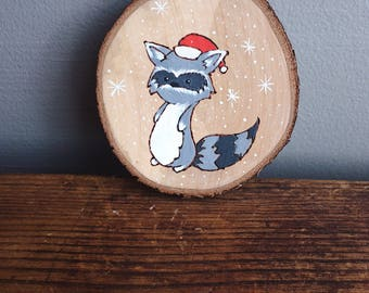 Cute raccoon in the snow woodland creature christmas tree ornament percect in time for the holidays
