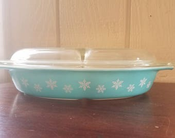 Aquacolored Snowflake Pyrex Divided Casserole dish with a lid