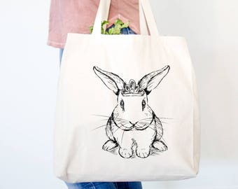 Royal Bunny Rabbit Canvas Tote Bag