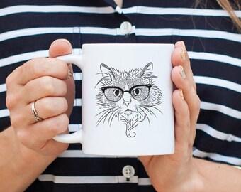 Daniel the Ragdoll Cat - Gifts For Cat Owner, Cat Lover, Cat Mug, Cat Wearing Glasses, Cool Cat Mug