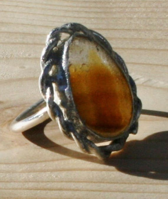 AUTUMN MIST - Seaglass Ring set in Sterling Silver - Size H