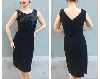 40% OFF 1950s Black with Sequin Bodice Bombshell Dress 40-31-40 Med to Lg