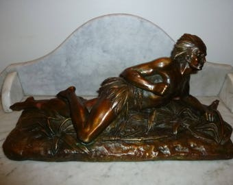Stunning Crawling Native Indian with bow French bronze sculpture signed DUCH0ISELLE 1880