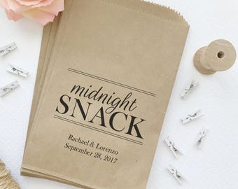 Midnight snack bags (30) - Wedding snack bags - Midnight snack favor bags - Midnight snack treat bags - Midnight snack wedding favor bags