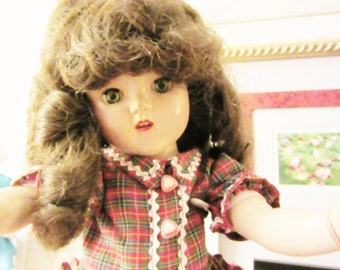 """doll 15"""" girl 1950's dolls UNMARKED sweet smile american made"""