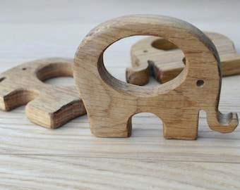 Organic Wooden teether toy elephant- Natural Wooden Toy - Teether of oak - Handmade wooden teether