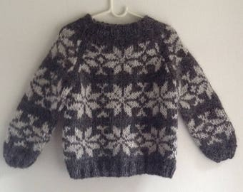 Sarah Lund hand knitted Icelandic wool sweater for kids, jumper, Faroe Islands, danish sweater, Icelandic sweater, children's sweater