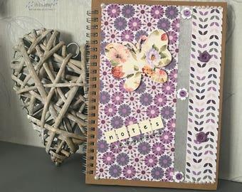 Handmade Butterfly notebook / journal - wire bound A5 notebook  - Teacher Gift - Student Gift - Birthday Gift