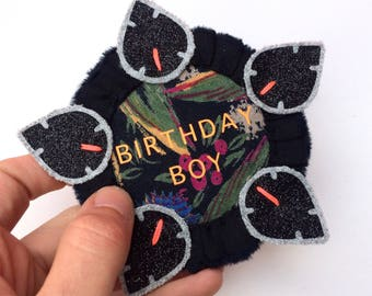BIRTHDAY BOY BADGE.Handmade rosette pin badge, the perfect alternative to a birthday card. Black and orange kids birthday badge.