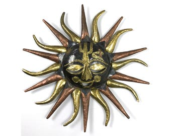 Vintage Brutalist Brass & Copper Sun Face Wall Sculpture 1970's