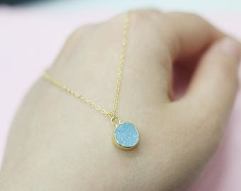 925 sterling silver gold chain Round blue Agate Druzy Necklace Handmade Drusy Geode Necklace wedding party birthday jewelry graduation gift