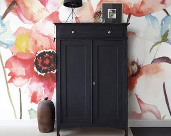 Watercolor Poppy Flowers Mural Removable Wallpaper, Wall mural, Peel and stick, Floral wallpaper, Self adhesive, Temporary mural