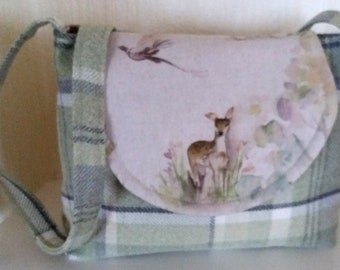 Handmade Shoulder Bag with Doe Deer in green wool check fabric with long shoulder strap and inside pockets