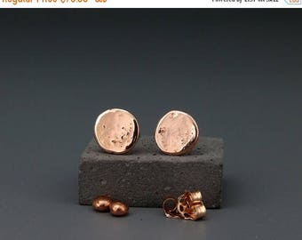 14K Rose Destroyed Gold Studs Earrings Handmade solid 14k rose gold nuggets earrings in destroyed gold style 5mm 6mm 7mm   Gift for her