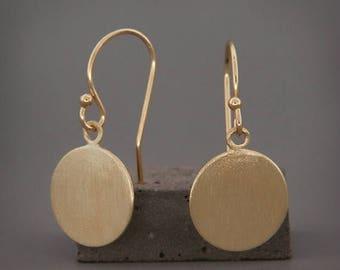 "Solid 14K Gold Earrings   Brushed Matte Solid 14K Gold Disc Earrings 3/16"" 1/4"" 5/16"" 3/8"" 7/16"""