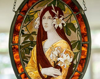 Art nouveau stained glass, Innocence suncatcher, lilies suncatcher, lily, girl with lilies suncatcher, lis, jugendstil glass, beautiful gift