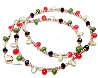Fairy tinkling choker teardrop necklace. Fairy choker necklace back drop chain. Woodland fairy necklace. Tinkling necklace. Gift for her.