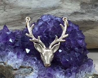 Stag Head Link, Stag Head Connector, Deer Charm, Buck Charm, Bronze Charm, Stag Charm, Animal Charm