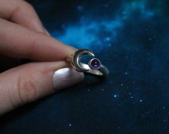 Moon ring with natural stones, sterling silver
