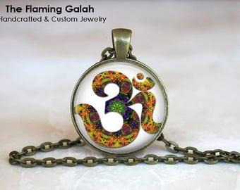 OM SYMBOL Pendant •  Multi Colour OM •  Buddhist Symbol •  Yoga Symbol •  Hindu Om • Gift Under 20 • Made in Australia (P0542)