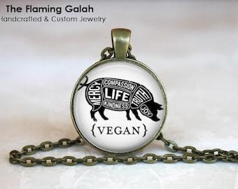 VEGAN PIG Quote Pendant • Vegetarian Quote • Cruelty Free Living • Veganism • Vegan Jewellery • Gift Under 20 • Made in Australia (P1417)