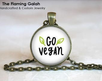 GO VEGAN Pendant • Vegetarian Quote • Cruelty Free •  Veganism • Vegan Quote • Vegan Jewellery • Gift Under 20 • Made in Australia (P1426)