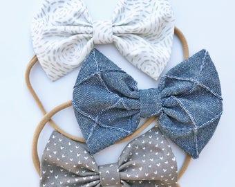 Wild Blue Yonder Set - baby bow Set