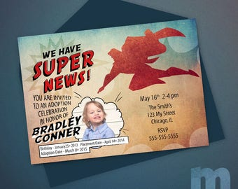 Superhero Adoption Announcement, Printable Adoption Invitation, Adoption Invites for Boy, Digital Adoption Invitation, Comic Book Invitation