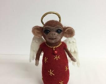 Needle felted chimp angel