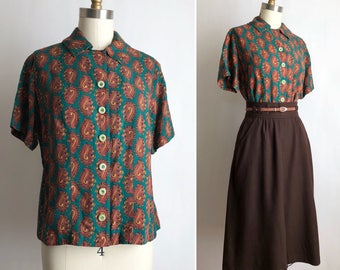 1950s paisley blouse S/M | vintage button down top
