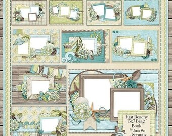 On Sale 50% Just Beachy Digital Scrapbook Kit 5x7 Brag Book - Digital Scrapbooking