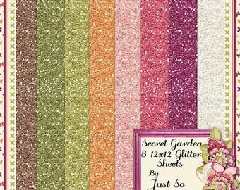 On Sale 50% Secret Garden 12x12 Glitter Sheets Digital Scrapbook Kit - Digital Scrapbooking