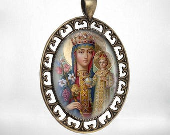Virgin Mary with Child Jesus Vintage Catholic Medal Pendant Religious Jewelry