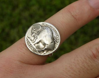 Vintage Buffalo Nickel coins soldered sterling silver plated band ring sizes 6.75 7 7.75 8 9 9.25 9.50