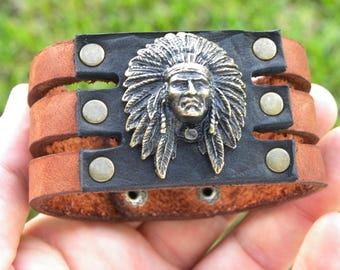 Native Indian Chief head genuine Buffalo Bison leather cuff bracelet wristband ketoh customize to wrist size handcrafted