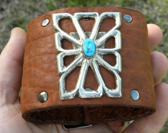 Vintage Native Indian Navajo sterling silver turquoise Ketoh cuff Bracelet Tobacco Buffalo Bison  leather adjustable sizable 7 to 8 inch