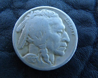 1927 US circulated vintage authentic  Buffalo Indian Nickel coin full date  A120