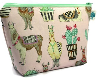 Large Cosmetic Bag, Makeup Bag, Accessory Bag, Make up Bag, Toiletry Bag, Gadget Bag, Jewelry Pouch in Lovely Llamas