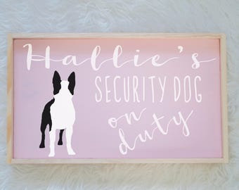 Boston Terrier Silhouette Painted Wood Nursery Sign, Kids Room Sign, Security Dog, Guard Dog on Duty, Kids Room Decor, Dog Decor, Baby Decor