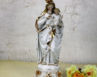 Majestic Antique 1900 Vieux Paris Porcelain Statue Virgin Mary Madonna 14.96""