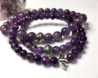 Valentines Day Purple Amethyst Bracelet February Birthstone Gift for Her Girlfriend Birthday Gift Wife Daughter Gift Celtic Irish Bracelet