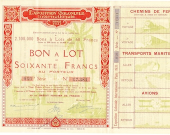 Old French Share Certificate For The French International Colonial Exhibition Held In Paris In 1931.