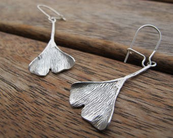 Sterling Silver Earrings, Silver Ginkgo Leaf Earrings, Leaf Earrings, Silver Dangle Earrings, Nature Earrings Ginkgo Earrings