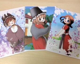 Welsh Girl Cards, St Davids Day, set of 3