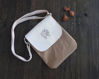 Sheep print bag. Tan bag. Mini messenger bag.  Cross body bag . Shoulder bag. . Cotton Bag.Hand printed bag. fabric bag.