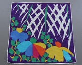 Abstract Flowers - Vintage Swiss Cotton Hankie Handkerchief