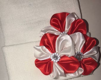 Newborn Hospital Hat Red/White Stripe  Hospital Hat with a Flower Trio and Rhinestones!