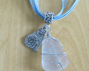Frosted glass and cat charm necklace