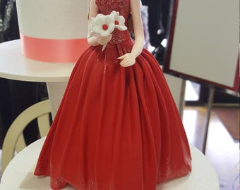 Quince Anos Cake Topper Figurine/Quinceañera Cake Topper/Elegant Red Dress Quinceañera Cake Topper and Keepsake
